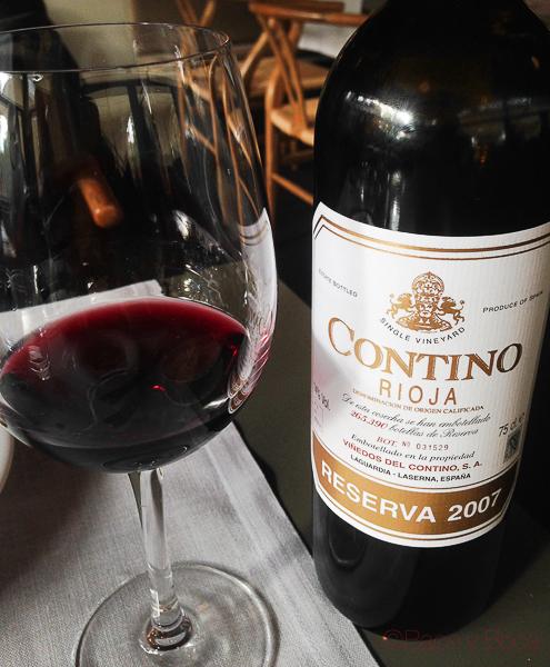 Contino Rioja con copa la balsa restaurante barcelona