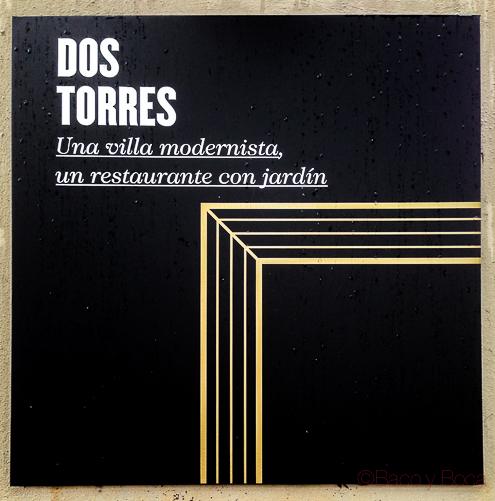 Dos Torres restaurante Barcelona rotulo